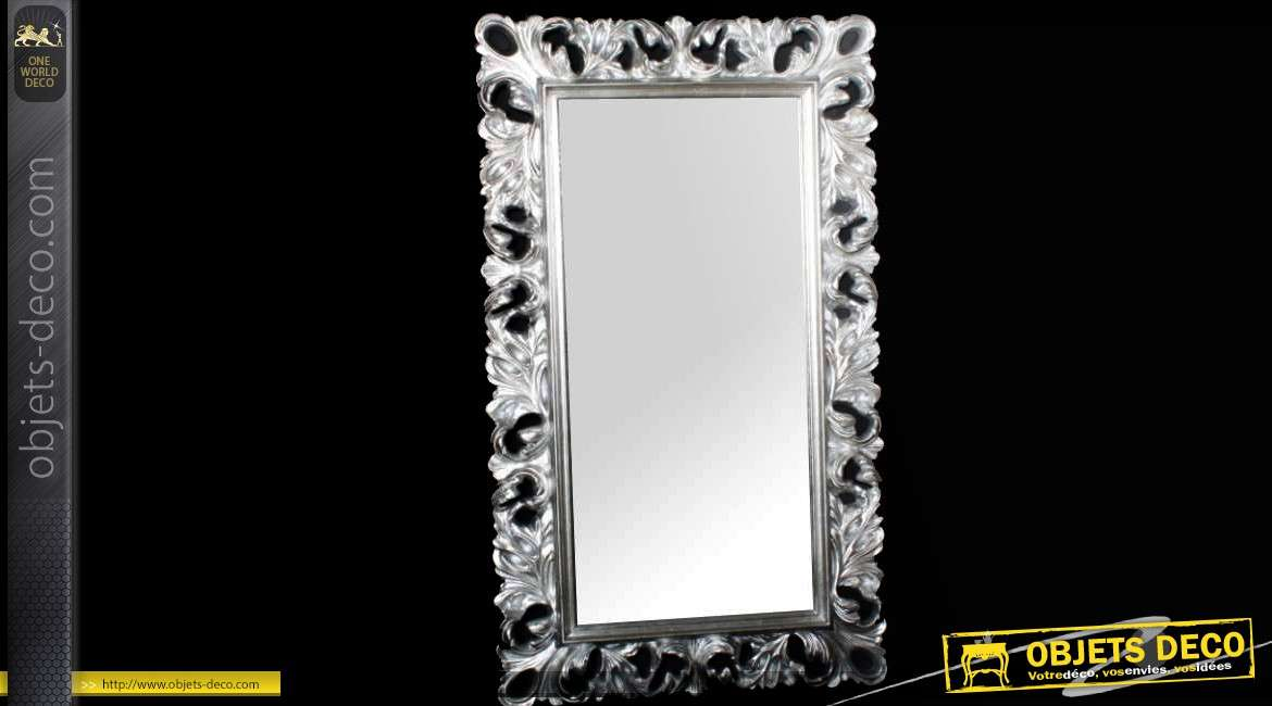 Grand miroir rectangulaire baroque argent 148 cm for Miroir mural grand