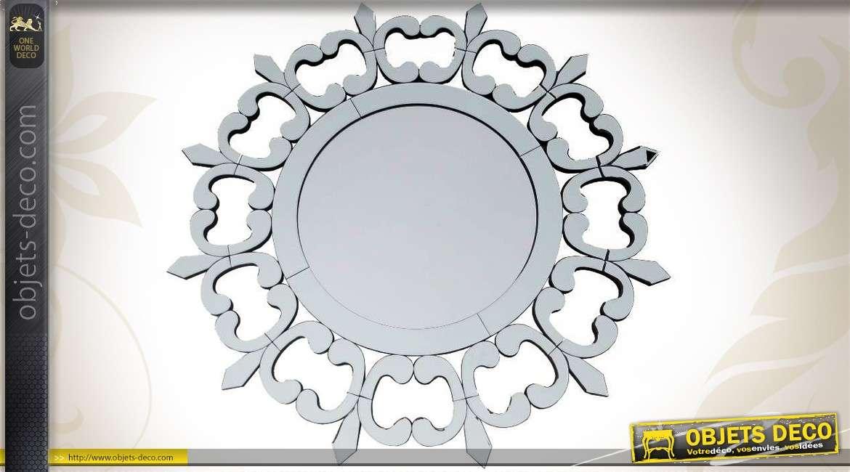 Miroir rond de style art d co motifs de papillons 80 cm for Grand miroir rond design