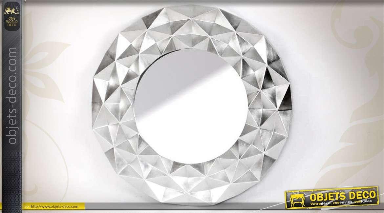 grand miroir argent art d co en relief 103 cm. Black Bedroom Furniture Sets. Home Design Ideas