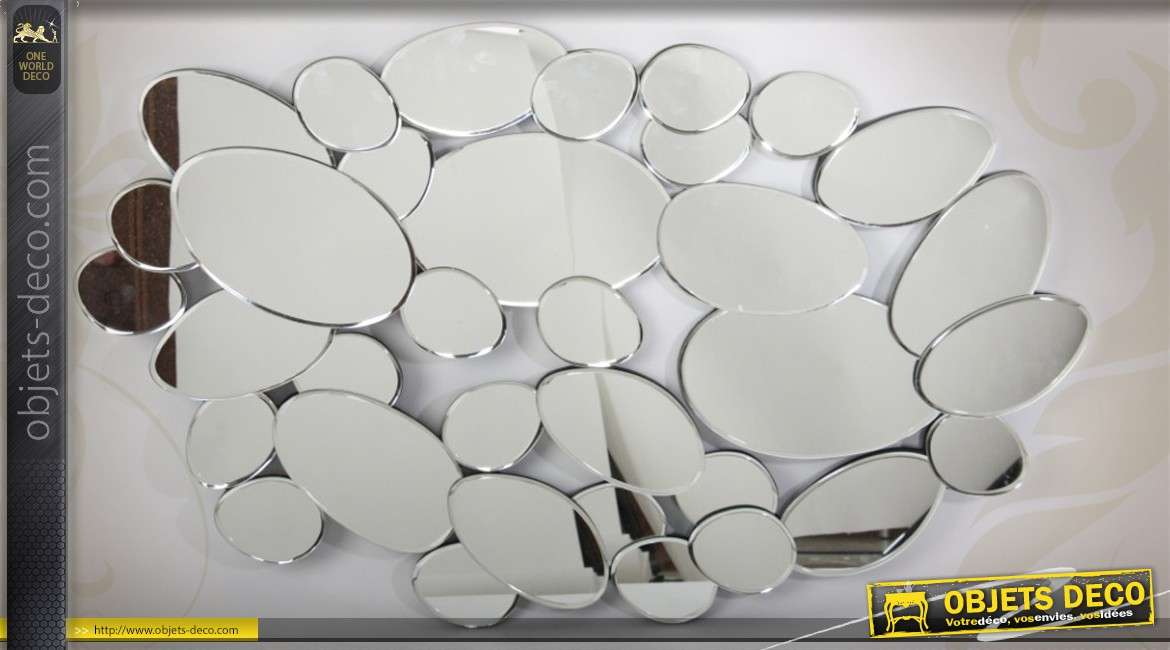 Grande d co murale miroir multifacettes en forme de galets for Miroir de decoration