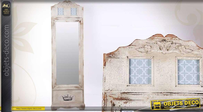 Miroir psyché style rétro en pied finition blanc vieilli 180 cm