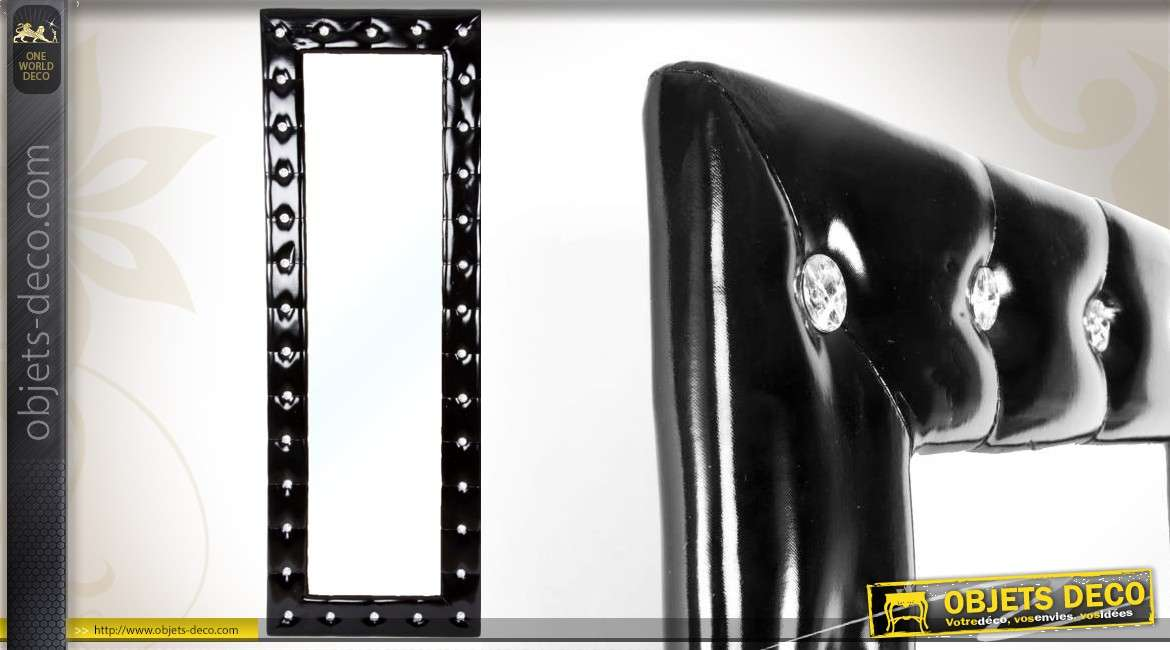 miroir mural similicuir noir capitonn avec brillants 170 cm. Black Bedroom Furniture Sets. Home Design Ideas