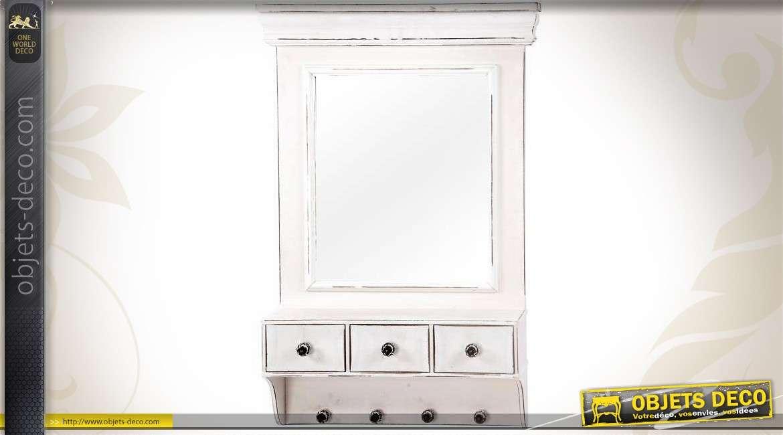 Miroir mural r tro tiroirs et crochets patine blanche vieillie for Miroir 50 100
