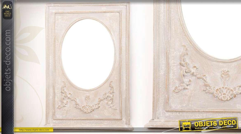 miroir mural en bois style romantique patine cr me vieillie 78 cm. Black Bedroom Furniture Sets. Home Design Ideas