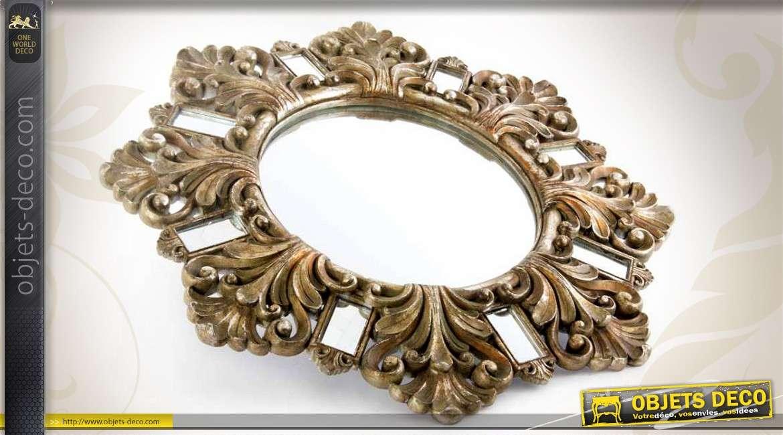 Miroir d co mural de style baroque dor vieilli 53 cm for Deco miroir mural