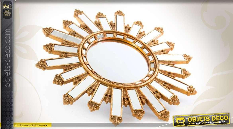miroir soleil mural r tro dor formes rayonnantes 50 cm. Black Bedroom Furniture Sets. Home Design Ideas