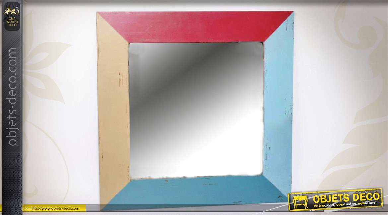 Grand miroir carr multicolore style r cup ration et brocante for Grand miroir carre