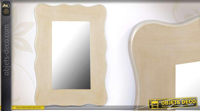 Miroir vintage cadre chantourn doucines argent es 70 cm for Miroir 70 cm