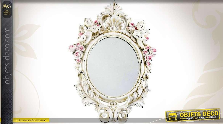 Miroir ovale vintage imitation porcelaine motifs fleuris 56 cm for Miroirs grandes dimensions