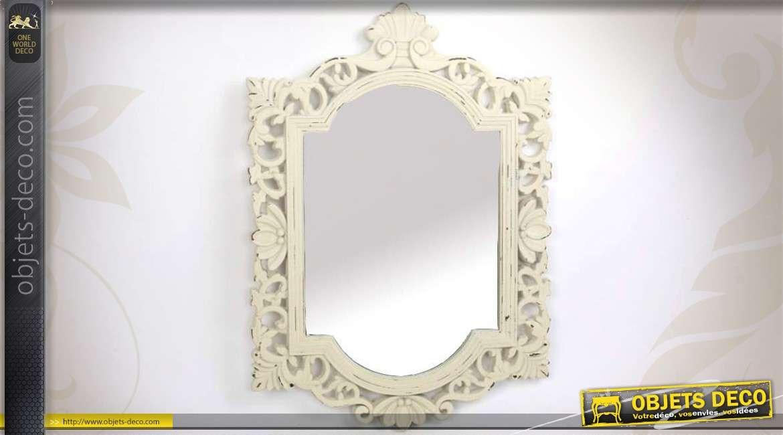miroir en bois ajour patin cr me de style baroque 67 cm. Black Bedroom Furniture Sets. Home Design Ideas