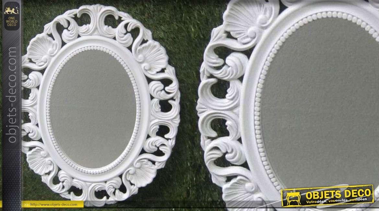 Psych miroir baroque avec armoire bijoux patine blanc for Grand miroir blanc baroque