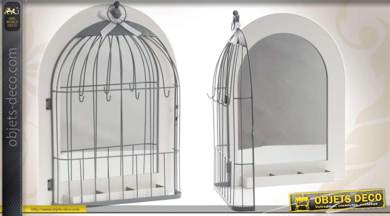 Miroir Cage A Oiseaux En Bois Et Metal Blanc Et Gris 50 Cm