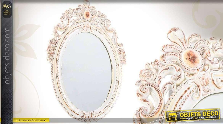 miroir ovale de style charme avec effet cuivr et vieilli 45 cm. Black Bedroom Furniture Sets. Home Design Ideas