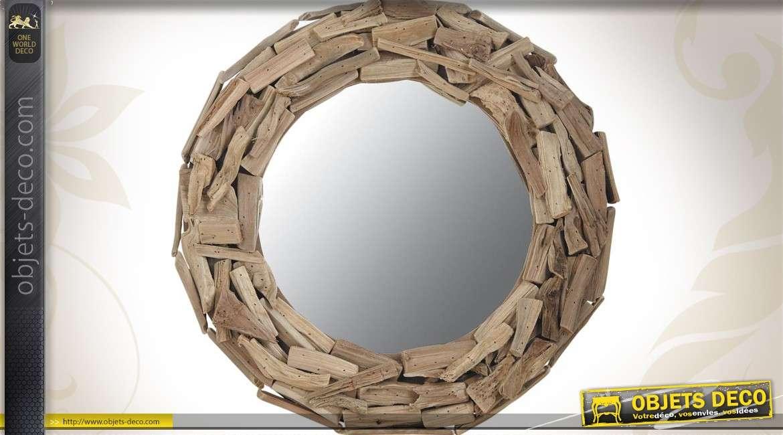miroir rond en bois flott style naturel 48 cm. Black Bedroom Furniture Sets. Home Design Ideas