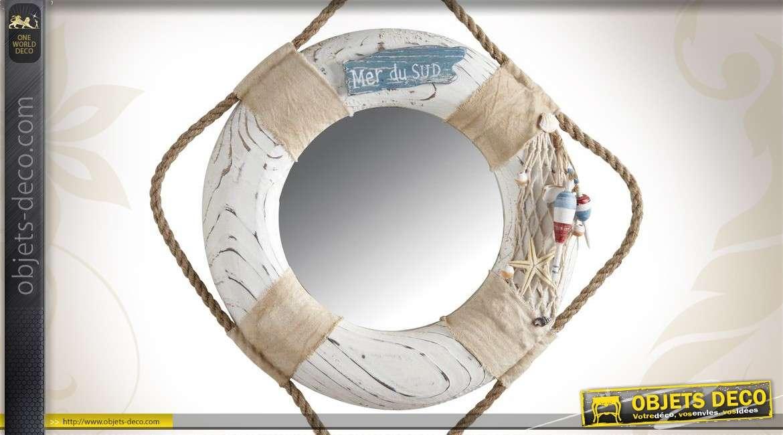 Miroir en bois et corde en forme de bouée de marine Ø 29 cm