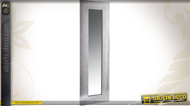 Miroir mural industriel vertical en zinc effet vieilli 100 cm