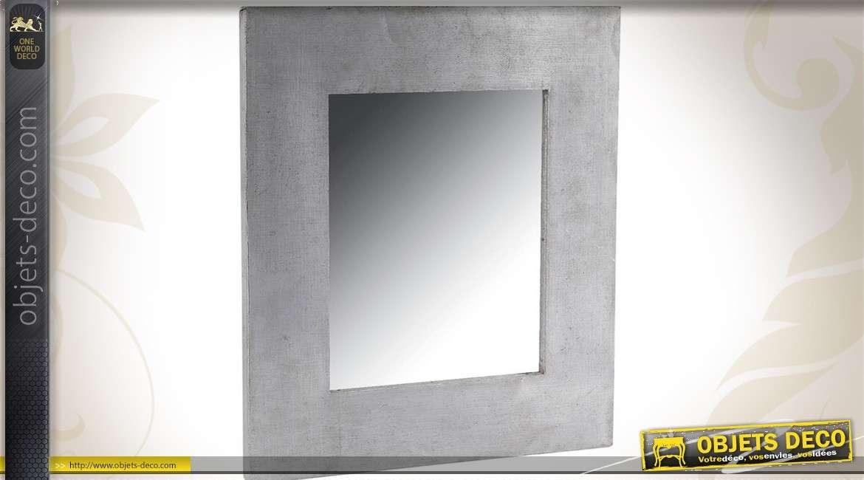 Miroir carré zinc style industriel finition à l\'ancienne 33 cm