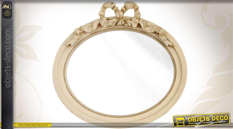 miroir ovale de style romantique coloris beige antique. Black Bedroom Furniture Sets. Home Design Ideas