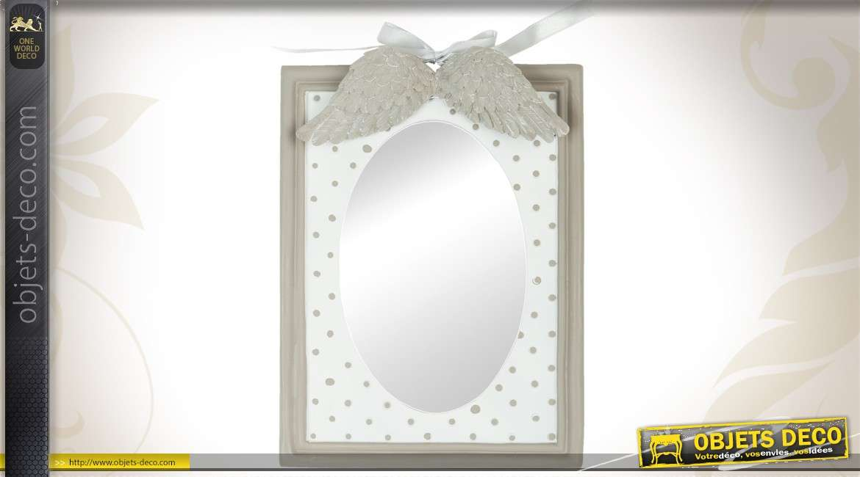 Miroir mural rectangulaire range bijoux encadrement blanc for Petit miroir blanc
