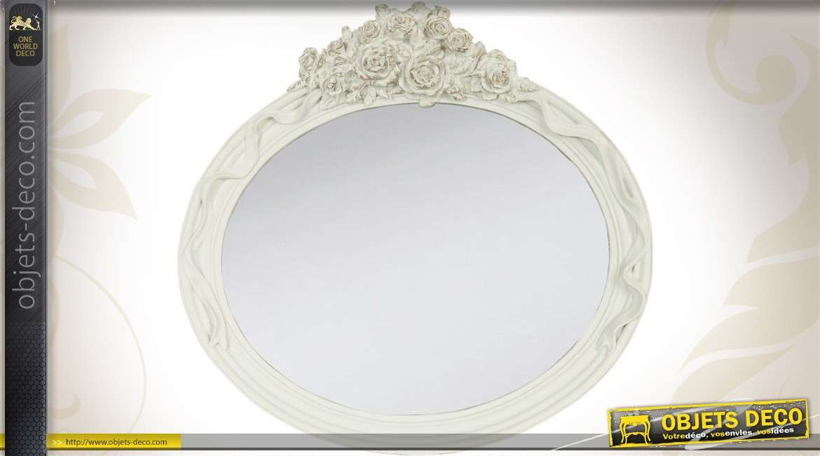 miroir rond blanc romantique perles dor es ornementation florale. Black Bedroom Furniture Sets. Home Design Ideas