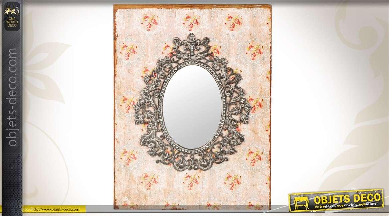 Miroir vintage cadre chantourn et motifs de fleurs 80 cm for Miroir antique