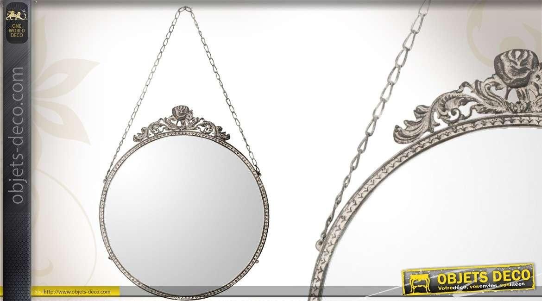miroir mural rond et argent suspendre effet vieilli 30 cm. Black Bedroom Furniture Sets. Home Design Ideas