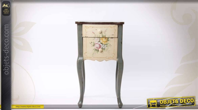 table de nuit sellette 2 tiroirs style r tro. Black Bedroom Furniture Sets. Home Design Ideas
