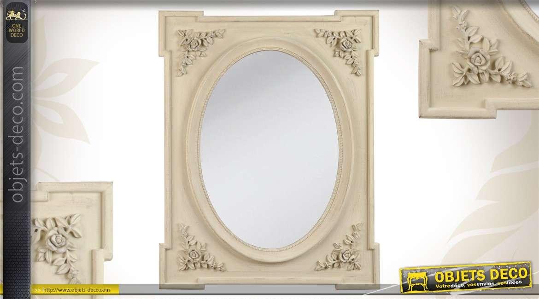miroir de charme beige avec motif fleuris et angles en saillie. Black Bedroom Furniture Sets. Home Design Ideas