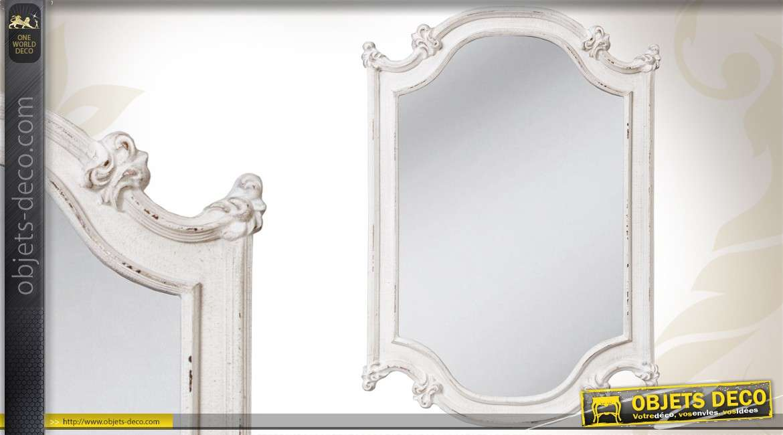 Miroir murale en bois de style romantique patine gris for Miroir en pied mural