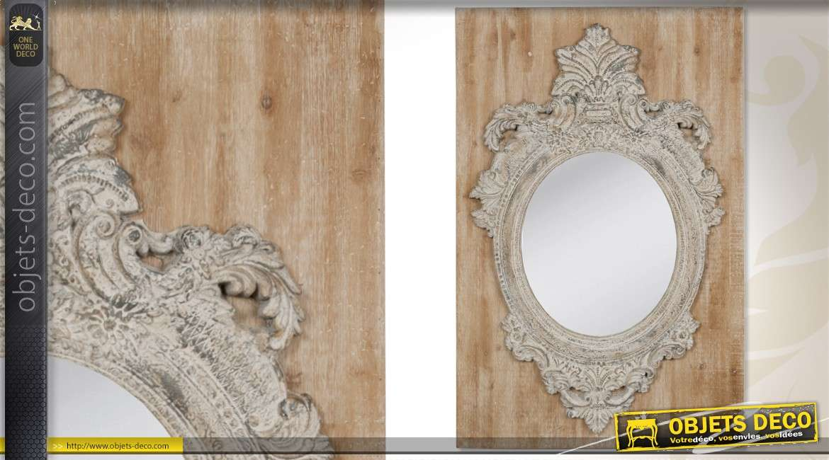 Miroir de style baroque dor sculpt main 130 cm for Grand miroir mural horizontal