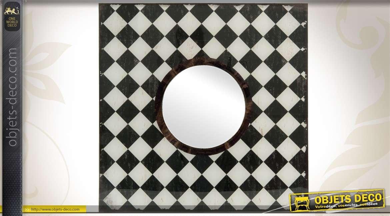 miroir dcoratif carr style art dco noir et blanc 50 x 50 cm