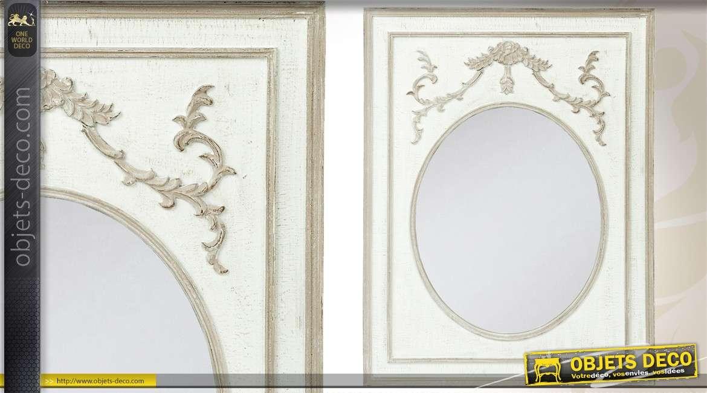 miroir murale en bois de style romantique patine gris clair 76 cm. Black Bedroom Furniture Sets. Home Design Ideas