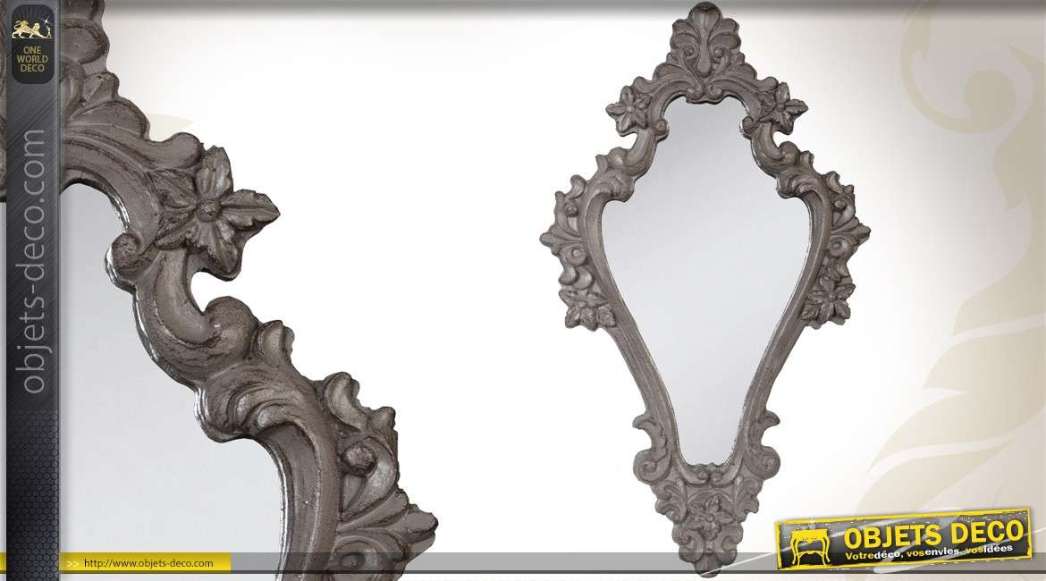 Miroir baroque patine blanc antique for Miroir baroque gris