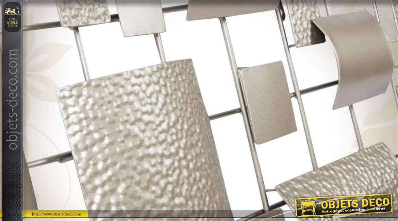 D coration murale abstraite argent e en m tal - Deco murale en metal ...