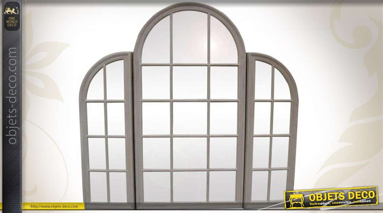 miroir fen tre 3 pans en arcade patine gris ancienne 150 cm. Black Bedroom Furniture Sets. Home Design Ideas
