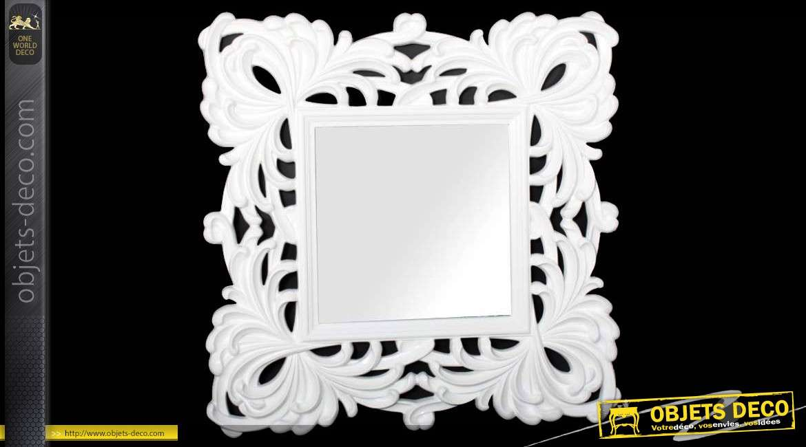 Grand miroir laqu blanc de style baroque et v g tal 100 x for Grand miroir blanc baroque