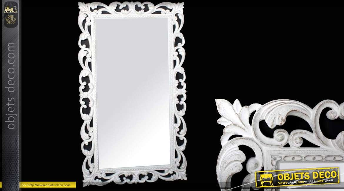 Grand miroir mural baroque en r sine finition blanc vieilli for Grand miroir blanc baroque