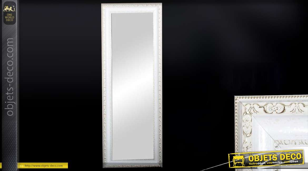 Miroir mural vertical style ancien blanc et or 134 cm for Miroir vertical