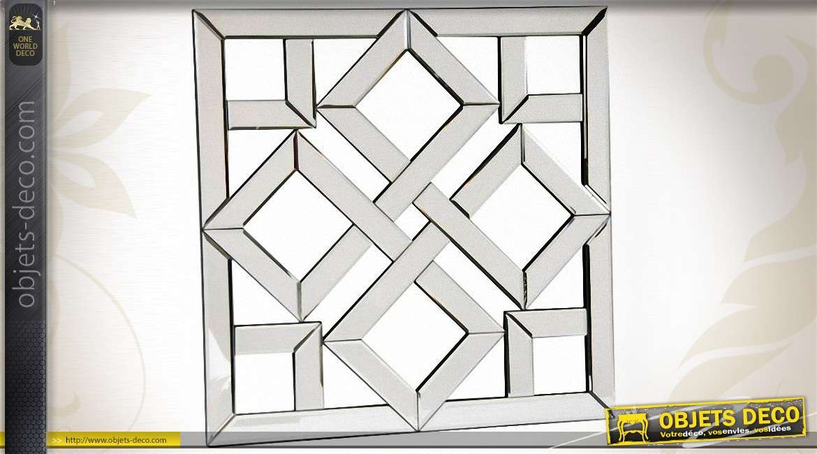Miroir design de style art d co en miroirs biseaut s 60 x for Decoration murale avec miroir
