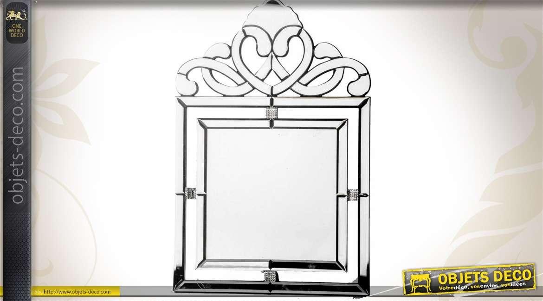 Miroir style v nitien en miroirs biseaut s style r tro 60 cm - Miroir decoration murale ...