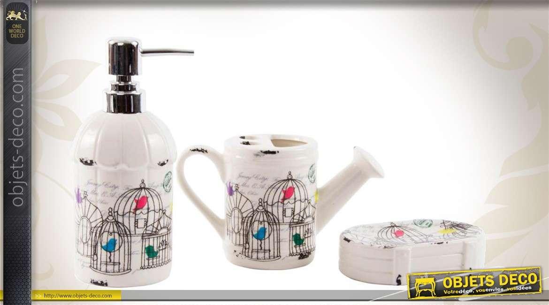 Set accessoires de salle de bain en céramique motifs rétro