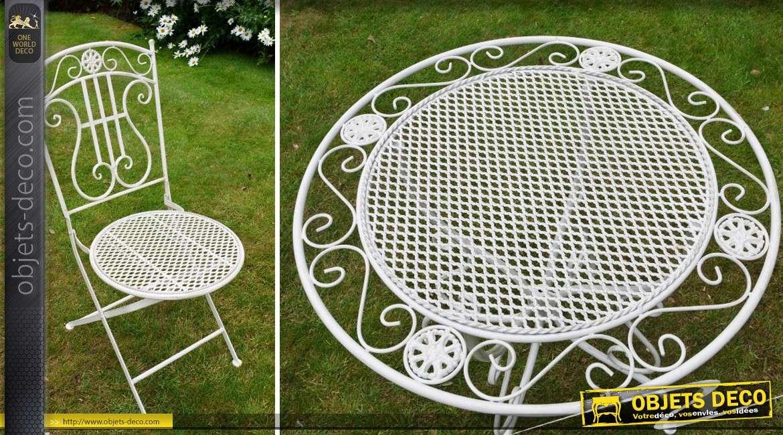 salon de jardin fer forg romantique blanc antique 2 places. Black Bedroom Furniture Sets. Home Design Ideas
