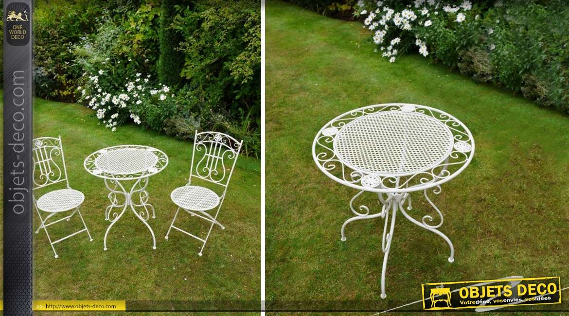 Awesome salon de jardin blanc en fer forge pictures for Deco jardin fer forge