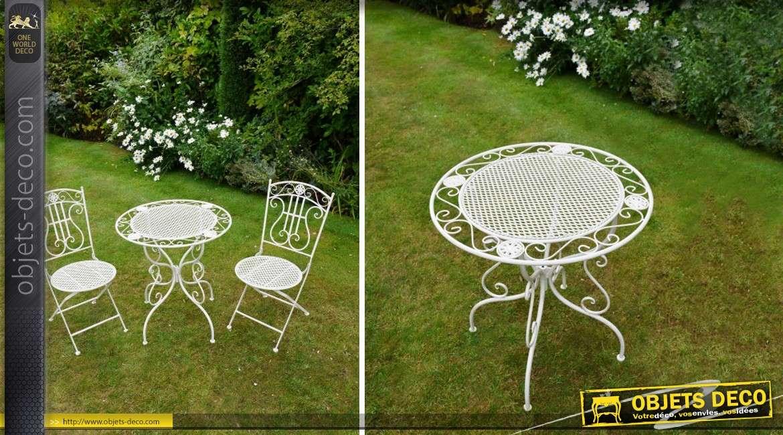 Salon de jardin fer forgé romantique blanc antique 2 places