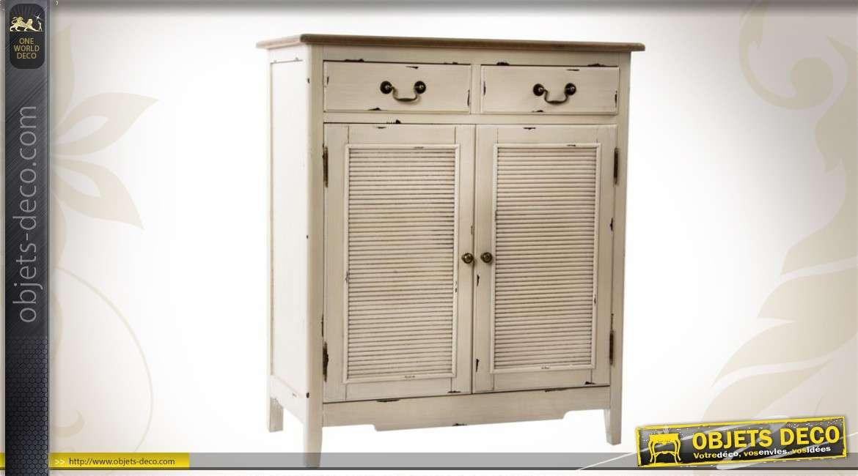 buffet 2 portes coloris cr me style campagne. Black Bedroom Furniture Sets. Home Design Ideas