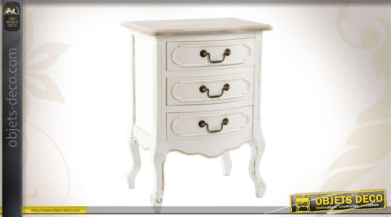table de chevet blanche 3 tiroirs de style ancien. Black Bedroom Furniture Sets. Home Design Ideas