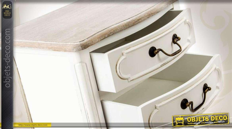 Table De Chevet Blanche A 3 Tiroirs De Style Ancien