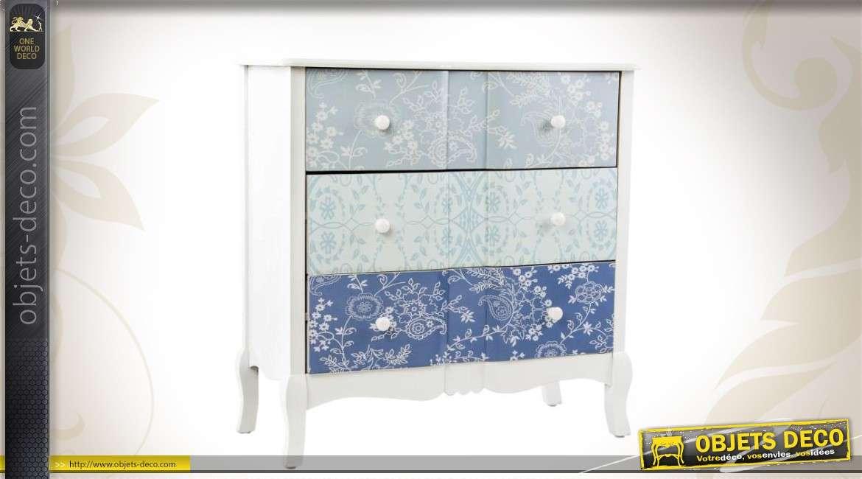 commode 3 tiroirs blanche et bleue de style romantique. Black Bedroom Furniture Sets. Home Design Ideas