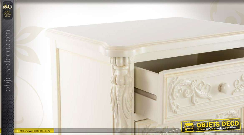 chifonnnier 5 tiroirs de style gustavien patine blanche. Black Bedroom Furniture Sets. Home Design Ideas