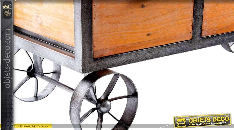 Meuble Tv Console De Style Industriel Sur Roues Avec 3 Tiroirs